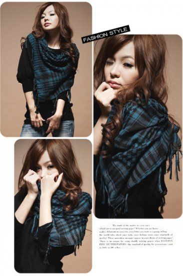 Korean Fashion Wholesale [C2-902] Trendy Must-have Checkered Scarf/Muffler - Black+Teal