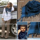 Korean Fashion Wholesale [C2-902] Trendy Must-have Checkered Scarf/Muffler - Black+Blue