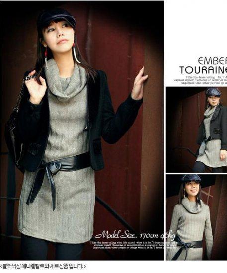Korean Fashion Wholesale [B2-6171] Fashionista Luxurious Wool Dress - Gray