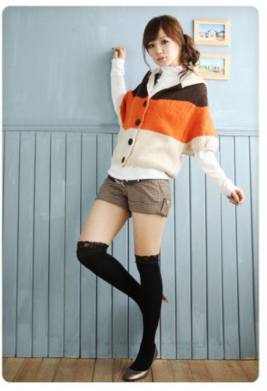 Korean Fashion Wholesale [C2-101] Adorable Color Blocks Sweater - Peach tones