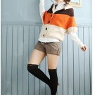 Korean Fashion Wholesale [C2-101] Adorable Color Blocks Sweater - Peach tones