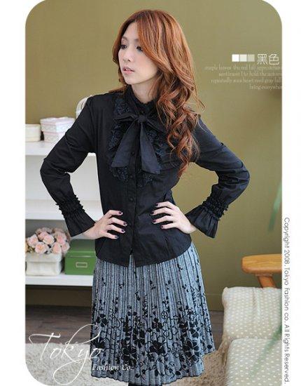 Korean Fashion Wholesale [B2-6259] Beautiful Lady Shirt - black