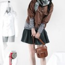 Korean Fashion Wholesale [B2-1609] SUPER Lovely Button-down Crop Jacket - Brown - Size S