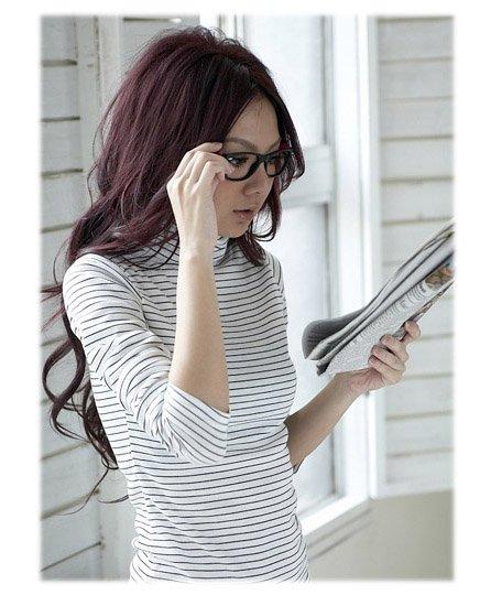 Korean Fashion Wholesale [E2-1107] Casual & Lovely Pin Striped Top - white