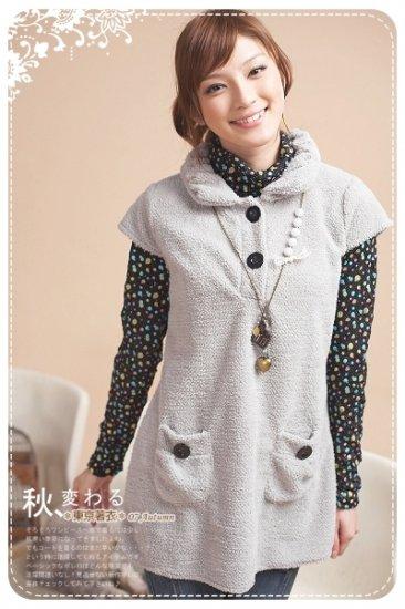 Korean Fashion Wholesale [B2-7447] Soft & Adorable Cashmere Warm Top/Dress - Gray