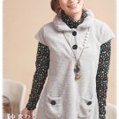 Korean Fashion Wholesale [B2-7447] Soft & Adorable Cashmere Warm Top/Dress - Gray