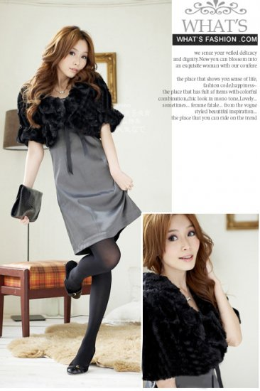 Korean Fashion Wholesale [B2-1599] Luxurious & Warm Lady Cropped Fur Jacket/Cardigan - Black