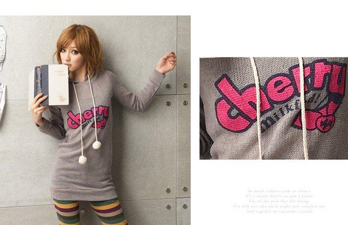 Korean Fashion Wholesale [C2-375] Cute & Playful Pom Pom Cherry Hoodie - Gray