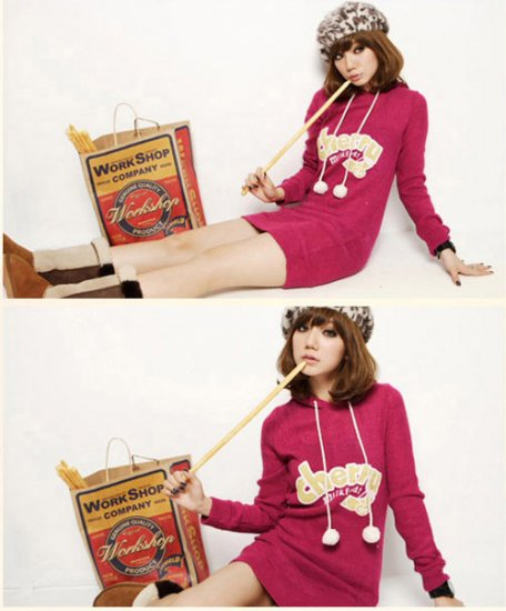 Korean Fashion Wholesale [C2-375] Cute & Playful Pom Pom Cherry Hoodie - cherry pink