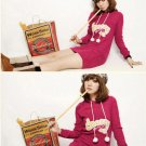 Korean Fashion Wholesale [C2-375] Cute & Playful Pom Pom Cherry Hoodie - cherry pink