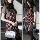 Korean Fashion Wholesale [B2-6213] Youthful & Elegant Plaid Checkered dress + Scarf - Red + black