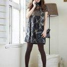 Korean Fashion Wholesale [B2-6213] Youthful & Elegant Plaid Checkered dress + Scarf - Gray