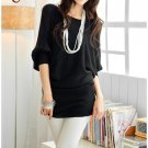 Korean Fashion Wholesale [B2-6206] Pretty & Flowy Off-shoulder Korean Style Fashion Top - black