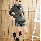 Korean Fashion Wholesale [C2-361] Girly & Preppy 2-in-1 Cashmere Long-sleeved Top