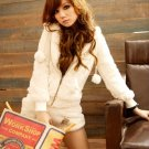 Korean Fashion Wholesale [E2-1099] Soft & Adorable & Warm Pompom Hoodie + Shorts Set - white