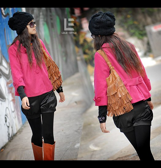 Korean Fashion Wholesale [C2-7001] High-class & Pretty Swing Jacket - Pink - Size M