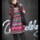 Korean Fashion Wholesale [C2-7003] SUPER Cute&Vintage Printed Cashmere Dress - pink + brown