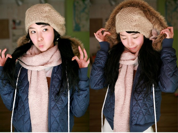 Korean Fashion Wholesale [B2-6154] Luxurious&Pretty Faux Fur Hooded Jacket -Navy- Size M