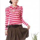 Korean Fashion Wholesale [C2-021] Lovely & Lady-like Striped Sweater Top