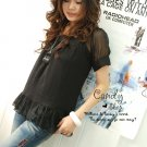 Korean Fashion Wholesale [C2-1011] Elegant & Pretty Korean style Chiffon Top - black