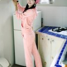 Korean Fashion Wholesale [C2-608] SUPER Adorable&Comfy Velvet 2-piece Suit - baby Pink