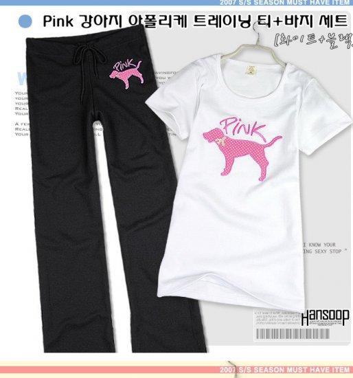 Korean Fashion Wholesale [B2-5011] Victoria's Secret PINK Cute & Sporty 2-piece Suit - white