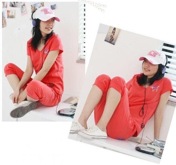 Korean Fashion Wholesale [B2-5026] Victoria's Secret PINK Cute & Sporty 2-piece Suit - peach
