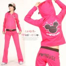 Korean Fashion Wholesale [E2-1021] DISNEY Mickey Mouse Adorable & Sporty 2-piece Suit - rose