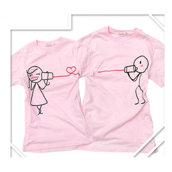 Korean Fashion Wholesale [B2-8853] Cute & Adorable Telephone Lovers T-shirts - Pink