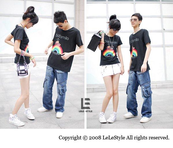 Korean Fashion Wholesale [C2-6061] Kawaii Rainbow Hello Kitty & Little Monkey Couple T-shirts
