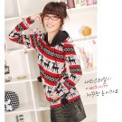 Korean Fashion Wholesale [C2-6092] Lovely Pompom Hooded Sweater - red multi