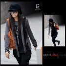 Korean Fashion Wholesale [C2-6091] Stylish 2-layer look Long-sleeved Top + Scarf - black