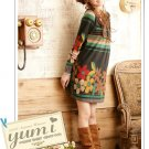 Korean Fashion Wholesale [C2-353] Cute&Colorful Vintage Flowers Print Dress - black multi