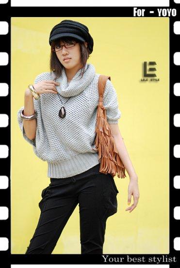 Korean Fashion Wholesale [C2-6095] Stylish & Soft & Warm Banded Sweater Top - light gray