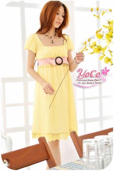 Korean Fashion Wholesale [B2-3634] Beautiful & Elegant Soft Chiffon Dress - Yellow