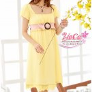 Korean Fashion Wholesale [B2-3634] Beautiful & Elegant Soft Chiffon Dress - Yellow