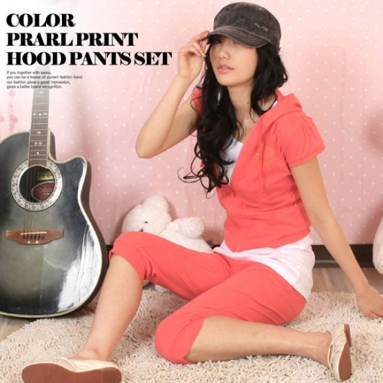 Korean Fashion Wholesale [C2-606] Lovely & Sporty 2-piece Hoodie + Pants Suit - orange