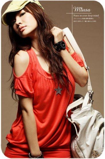 Korean Fashion Wholesale [B2-8874] Sexy Peek-a-boo Shoulders Short Dress - orange