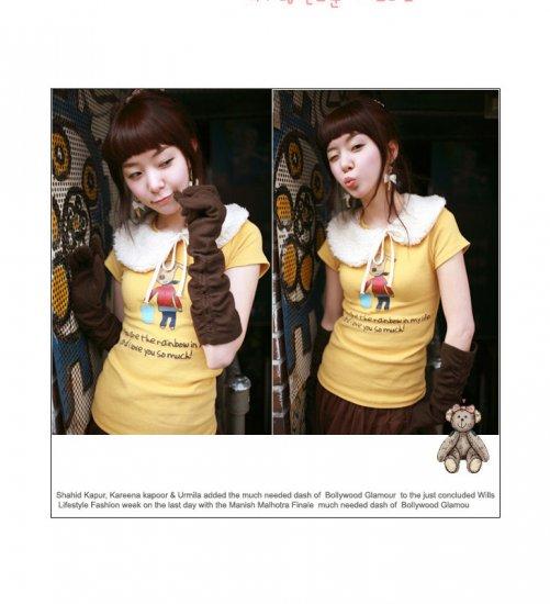 Korean Fashion Wholesale [B2-1338] Cute Little Graphic T-shirt - yellow