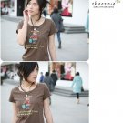 Korean Fashion Wholesale [B2-1338] Cute Little Graphic T-shirt - coffee