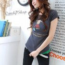Korean Fashion Wholesale [B2-1338] Cute Little Graphic T-shirt - gray