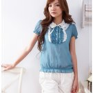 Korean Fashion Wholesale [B2-1373] Cute Ruffles Lace Chiffon Blouse - blue