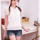 Korean Fashion Wholesale [B2-1373] Cute Ruffles Lace Chiffon Blouse - apricot
