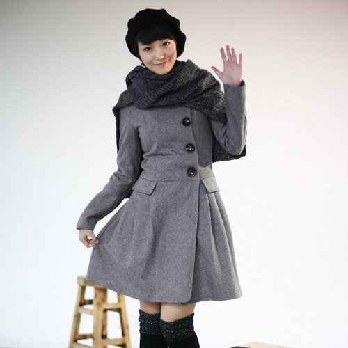 Korean Fashion Wholesale [B2-6155] Luxurious&Pretty Rich Daughter Long Coat - Size L