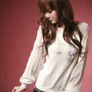Korean Fashion Wholesale [B2-6200] SUPER Cute&Elegant Embellished Details Chiffon Sleeves Top-white