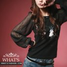 Korean Fashion Wholesale [B2-6200] SUPER Cute&Elegant Embellished Details Chiffon Sleeves Top-black