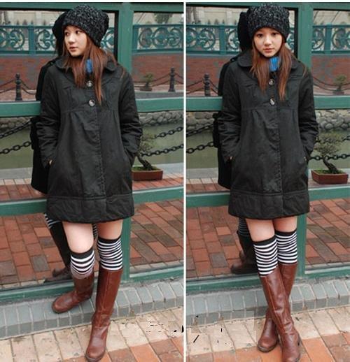 Korean Fashion Wholesale [E2-1056] Cute 2-button Long Coat - black - Size L