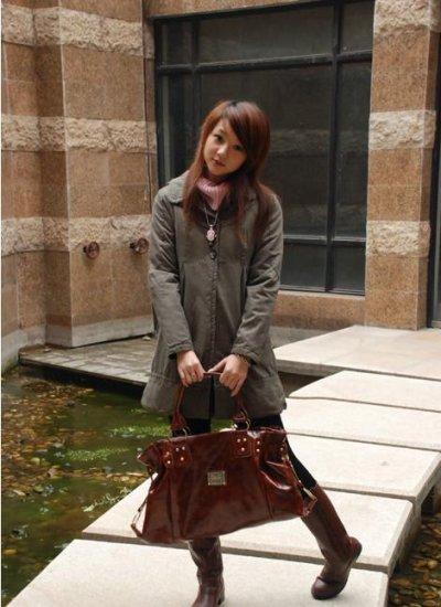 Korean Fashion Wholesale [E2-1056] Cute 2-button Long Coat - coffee - Size L