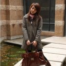 Korean Fashion Wholesale [E2-1056] Cute 2-button Long Coat - coffee - Size L