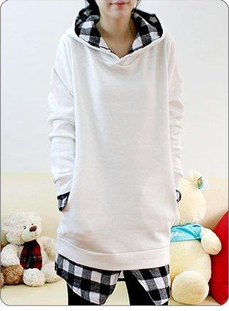Korean Fashion Wholesale [B2-6134] SUPER Cute & Kawaii 2-layer look Plaid lined Hoodie - white